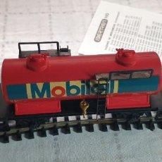 """Trenes Escala: IBERTREN H0 VAGÓN CISTERNA """"MOBIL"""" DOS EJES. REF. 2389 . NUEVO A ESTRENAR CON SU CAJA. Lote 289997413"""