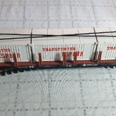"""Trenes Escala: IBERTREN H0 VAGÓN TELERO 4 EJES CON 3 CONTENEDORES """"TRANSPORTES ESPAÑA"""". REF. 4563 . CON SU CAJA. Lote 290049188"""