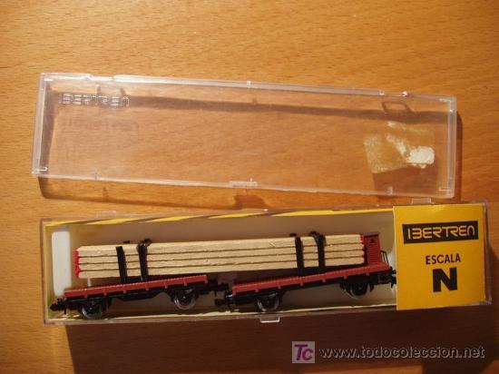 PLATAFORMA DOBLE CON CARGA DE MADERA IBERTREN ESCALA N REF. 373 (AÑO 1978) (Juguetes - Trenes a escala N - Ibertren N)