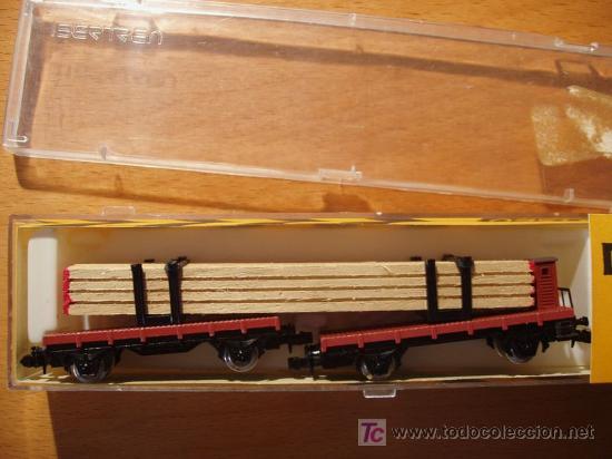 Trenes Escala: PLATAFORMA DOBLE CON CARGA DE MADERA IBERTREN ESCALA N REF. 373 (AÑO 1978) - Foto 2 - 13800112
