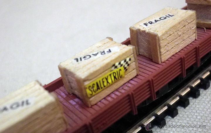 Trenes Escala: VAGON DE CARGA, ESCALA N, FABRICADO POR IBERTREN, PLATAFORMA, SCALEXTRIC, CAJAS MADERA - Foto 6 - 43558909