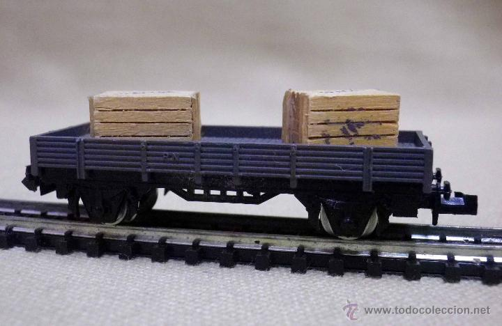 Trenes Escala: VAGON DE CARGA, ESCALA N, FABRICADO POR IBERTREN, PLATAFORMA, CAJAS MADERA - Foto 2 - 89248744
