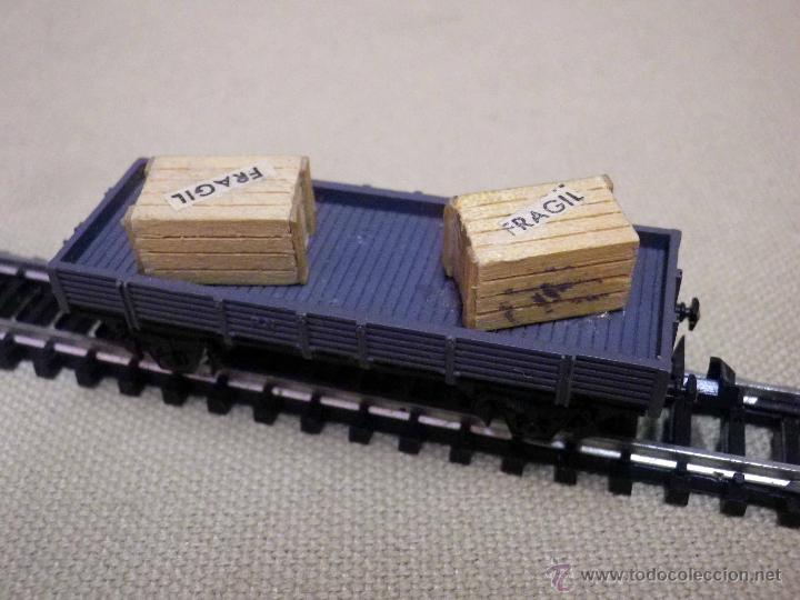 Trenes Escala: VAGON DE CARGA, ESCALA N, FABRICADO POR IBERTREN, PLATAFORMA, CAJAS MADERA - Foto 3 - 89248744