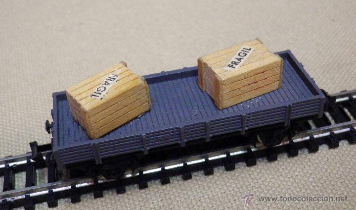 Trenes Escala: VAGON DE CARGA, ESCALA N, FABRICADO POR IBERTREN, PLATAFORMA, CAJAS MADERA - Foto 4 - 89248744