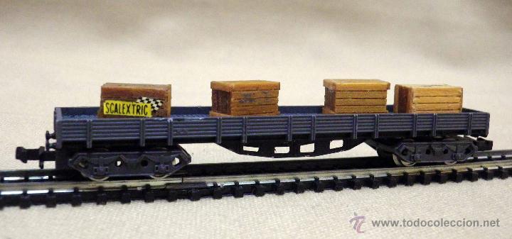 Trenes Escala: VAGON DE CARGA, ESCALA N, FABRICADO POR IBERTREN, PLATAFORMA, SCALEXTRIC, CAJAS MADERA - Foto 5 - 43568450
