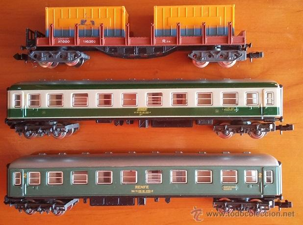 Trenes Escala: Ibertren escala N años 80. Lote de tres vagones ref.439, 217, 201 - Foto 2 - 53848953