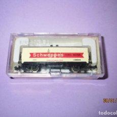 Trenes Escala: ANTIGUO VAGÓN FRIGORÍFICO 2 EJES SCHWEPPES EN ESCALA *N* REF. 383 DE IBERTREN - AÑO 1980S.. Lote 74504879