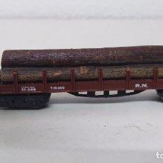 Trenes Escala: ANTIGUO VAGON DE TREN IBERTREN ESCALA N CARGA TRONCOS. Lote 103584678