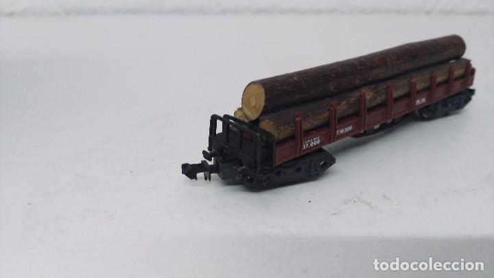 Trenes Escala: antiguo vagon de tren ibertren escala n carga troncos - Foto 2 - 103584678