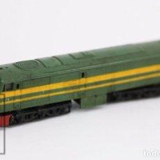 Trenes Escala: LOCOMOTORA ELÉCTRICA - IBERTREN - DIESEL ALCO. VERDE Y AMARILLA - ESCALA N - LARGO 12,5 CM. Lote 89176128