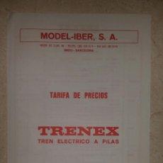 Trenes Escala: MODEL-IBER S.A. - TARIFA DE PRECIOS TRENEX TREN ELÉCTRICO A PILAS (FEBRERO 1989). Lote 89217260