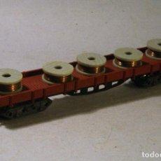 Trenes Escala: IBERTREN ESCALA N. VAGON 4 EJES CON CARGA DE BOBINAS DE CABLE. Lote 89709108