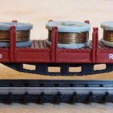 Trenes Escala: IBERTREN N. REF. 437 VAGON MERCANCIAS DE BOGIES, TELEROS CON CARGA DE BOBINAS. Lote 93110240