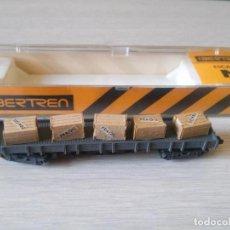 Trenes Escala: VAGON CAJAS CAJONES MADERA DOBLE EJE ESCALA N EN CAJA ORIGINAL IBERTREN. Lote 93352250