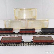 Trenes Escala: LOTE DE 5 VAGONES DE MERCANCIAS ABIERTOS BORDE MEDIO CON CARGA IBERTREN RENFE ESCALA N. Lote 95820047