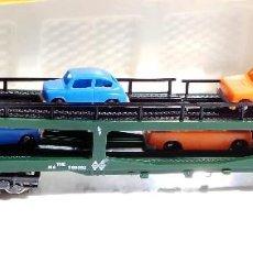Trenes Escala: IBERTREN VAGON PORTA COCHES 4 EJES CON COCHES REFERENCIA 452 ESCALA N . Lote 97996047
