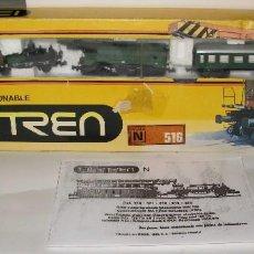 Trenes Escala: IBERTREN GRUA. EQUIPO GRUA IBERTREN 516. COMPLETO. VAGONES IMPECABLES. CAJA DETERIORADA.. Lote 98924687