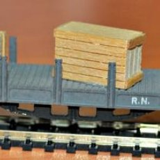 Trenes Escala: VAGÓN TELEROS 4 EJES GRIS CON CAJAS DE IBERTREN, REF. 436, ESCALA N.. Lote 99902131