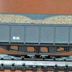 Trenes Escala - VAGÓN BORDE ALTO 4 EJES GRIS CON ARENA DE IBERTREN, REF. 414, ESCALA N. - 110681998