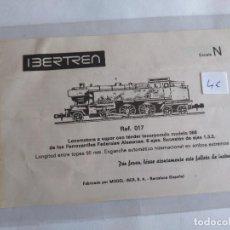 Trenes Escala: IBERTREN N INSTRUCCIONES DE LA LOCOMOTORA VAPOR CON TENDER INCORPORADO S66 REF 017. Lote 110148167