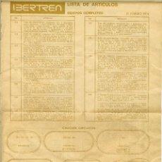 Trenes Escala: IBERTREN INVENTARIO DE CIRCUITOS Y MATERIAL DE 1976. Lote 115737347