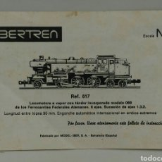 Trenes Escala: INSTRUCCIONES IBERTREN REFERENCIA 017 ESCALA N 144. Lote 119682354