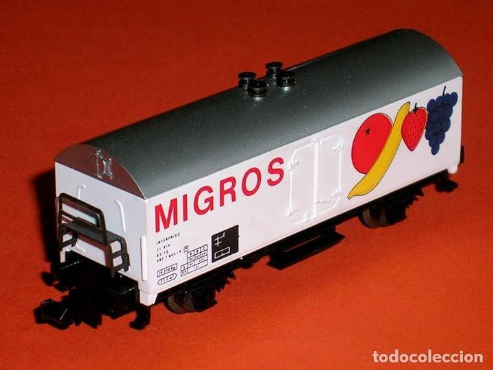 VAGÓN FRIGORÍFICO FRUTAS MIGROS INTERFRIGO REF. 387, IBERTREN ESC. N, ORIGINAL AÑOS 80. (Juguetes - Trenes a escala N - Ibertren N)