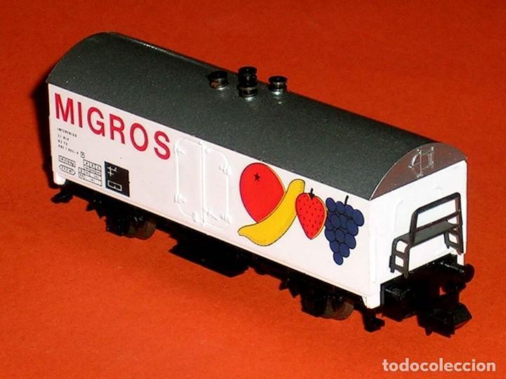 Trenes Escala: Vagón frigorífico Frutas Migros Interfrigo ref. 387, Ibertren esc. N, original años 80. - Foto 3 - 121665595