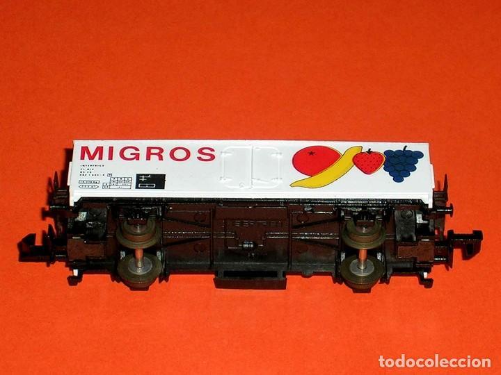 Trenes Escala: Vagón frigorífico Frutas Migros Interfrigo ref. 387, Ibertren esc. N, original años 80. - Foto 4 - 121665595