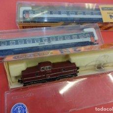 Trenes Escala: IBERTREN LOTE LOCOMOTORA ESPECIAL 2N Y DOS VAGONES PASAJEROS ESCALA N. EN CAJAS ORIGINALES. Lote 125031227