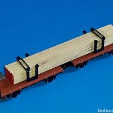 Trenes Escala: VAGÓN PLATAFORMA DOBLE CARGA MADERA RENFE REF. 373, IBERTREN ESC. N, ORIGINAL AÑOS 70-80.. Lote 125225215