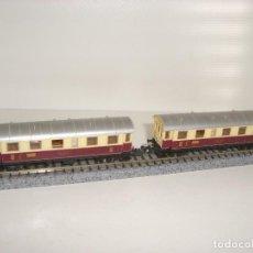 Trenes Escala: IBERTREN N 2 VAGONES PASAJEROS 2 EJES ROJO-HUESO (CON COMPRA DE 5 LOTES O MAS ENVÍO GRATIS). Lote 125429907