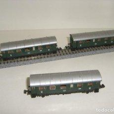 Trenes Escala: IBERTREN N 3 VAGONES PASAJEROS 2 EJES VERDE (CON COMPRA DE 5 LOTES O MAS ENVÍO GRATIS). Lote 125429995