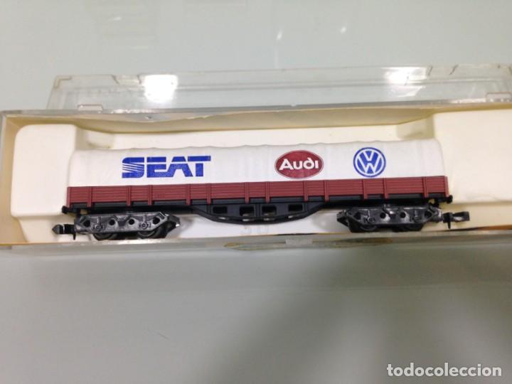 TREN, IBERTREN 399, VAGON BORDE BAJO, BOGIES,RENFE, MMC, MARRON CON TOLDO SEAT AUDI VW (Juguetes - Trenes a escala N - Ibertren N)