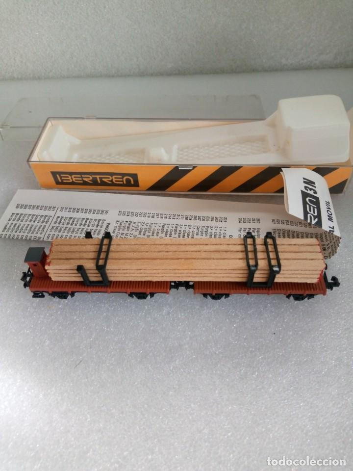 Trenes Escala: VAGON DE CARGA, PARA ESCALA N, IBERTREN, DOBLE PLATAFORMA, CARGA MADERA, REF 373 en caja - Foto 4 - 142303074