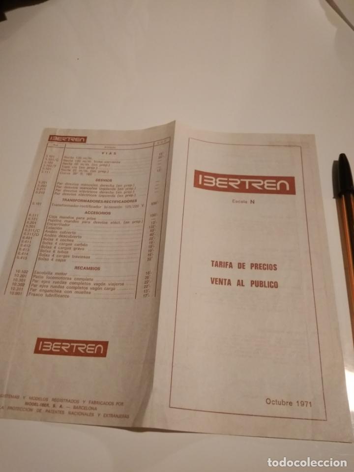 IBERTREN N. TARIFAS DE VENTA AL PÚBLICO. OCTUBRE 1971. BUEN ESTADO. (Juguetes - Trenes a escala N - Ibertren N)