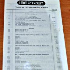 Trenes Escala: TARIFA DE PRECIOS DE VENTA AL PÚBLICO DE MATERIAL N DE IBERTREN, ABRIL 1990.. Lote 147920766