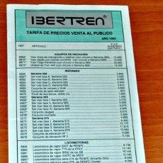 Trenes Escala: TARIFA DE PRECIOS DE VENTA AL PÚBLICO DE MATERIAL N DE IBERTREN, AÑO 1992.. Lote 149234421