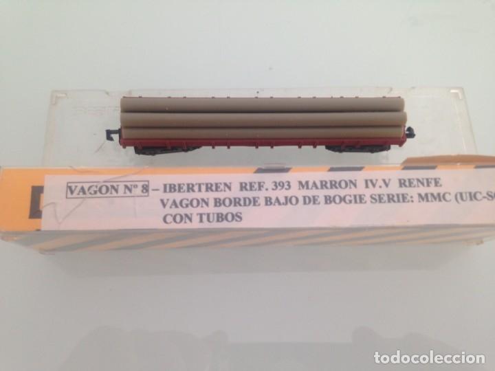 Trenes Escala: TREN, IBERTREN 393, VAGON BORDE BAJO, BOGIES,RENFE, MMC, MARRON CON TUBOS - Foto 2 - 142252690