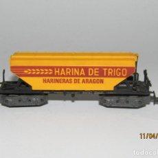Trenes Escala: ANTIGUO VAGÓN TOLVA 4 EJES HARINERAS DE ARAGON EN ESCALA *N* REF. 478 DE IBERTREN. Lote 159698906