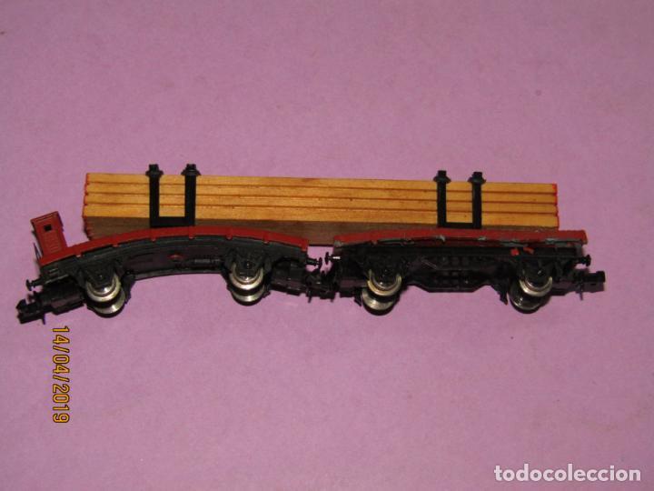 Trenes Escala: Antigua Plataforma Doble con Carga de Madera en Escala *N* de IBERTREN - Foto 2 - 160534574