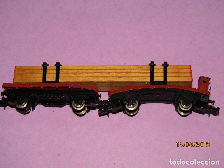 Trenes Escala: Antigua Plataforma Doble con Carga de Madera en Escala *N* de IBERTREN - Foto 3 - 160534574