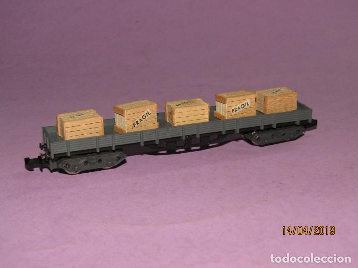 Trenes Escala: Antiguo Vagón Borde Bajo con Cajas 4 Ejes en Escala *N* Ref. 396 de IBERTREN - Foto 2 - 160535002