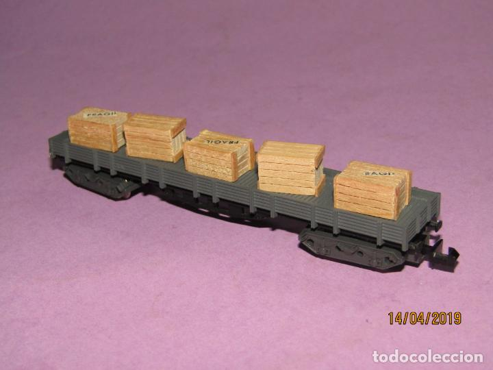 Trenes Escala: Antiguo Vagón Borde Bajo con Cajas 4 Ejes en Escala *N* Ref. 396 de IBERTREN - Foto 3 - 160535002