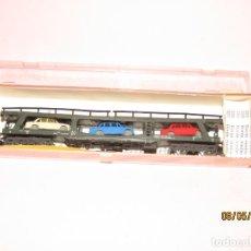 Trenes Escala: ANTIGUO VAGÓN PORTA COCHES REF. 452 EN ESCALA *N* DE IBERTREN. Lote 163332462