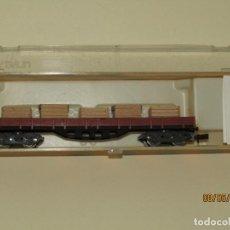 Trenes Escala - Antiguo Vagón Borde Bajo 4 Ejes con Cajas Ref. 395 en Escala *N* de IBERTREN - 163344986