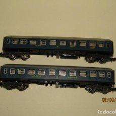 Trenes Escala: ANTIGUOS COCHES DE VIAJEROS 1ª Y 2ª CLASE AZULES REF. 202 - 204 EN ESCALA *N* DE IBERTREN. Lote 163346850