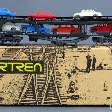 Trenes Escala: VAGÓN PORTA COCHES IBERTREN N CON COCHES CAJA REF 452. Lote 167680888