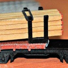 Trenes Escala: RESTOS DE LA PLATAFORMA DOBLE CON CARGA DE MADERA DE IBERTREN, REF. 373. ESCALA N. Lote 170027268