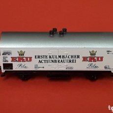 Trenes Escala: VAGÓN FRIGORÍFICO CERVEZA *EKU* REF. 388, IBERTREN MADE IN SPAIN, ESC. N, ORIGINAL AÑOS 80.. Lote 172587065